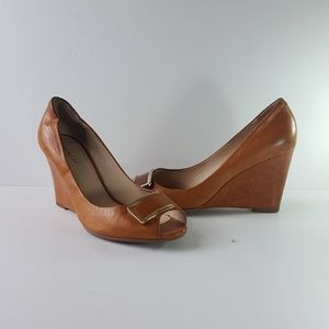 Coach 7.5 Wedges Cognag Leather Heels